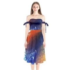 Colorful Pattern Color Course Shoulder Tie Bardot Midi Dress