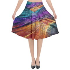 Graphics Imagination The Background Flared Midi Skirt