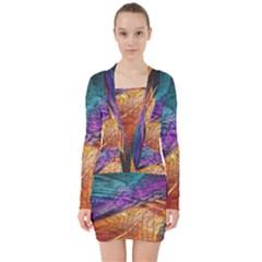 Graphics Imagination The Background V Neck Bodycon Long Sleeve Dress