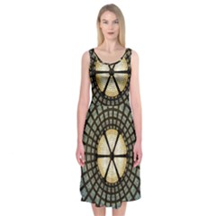 Stained Glass Colorful Glass Midi Sleeveless Dress
