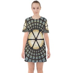 Stained Glass Colorful Glass Sixties Short Sleeve Mini Dress