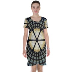 Stained Glass Colorful Glass Short Sleeve Nightdress