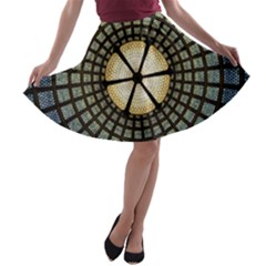 Stained Glass Colorful Glass A Line Skater Skirt