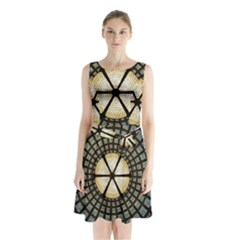 Stained Glass Colorful Glass Sleeveless Waist Tie Chiffon Dress