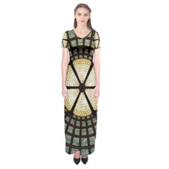 Stained Glass Colorful Glass Short Sleeve Maxi Dress