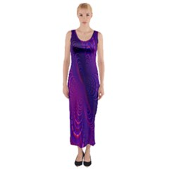 Abstract Fantastic Fractal Gradient Fitted Maxi Dress