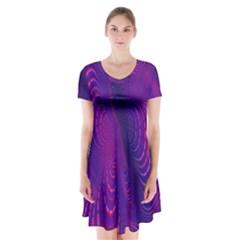Abstract Fantastic Fractal Gradient Short Sleeve V Neck Flare Dress
