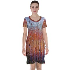Glass Colorful Abstract Background Short Sleeve Nightdress