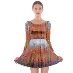 Glass Colorful Abstract Background Long Sleeve Skater Dress