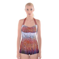 Glass Colorful Abstract Background Boyleg Halter Swimsuit