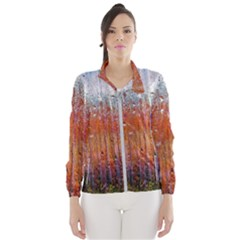 Glass Colorful Abstract Background Wind Breaker (women)