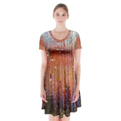Glass Colorful Abstract Background Short Sleeve V Neck Flare Dress