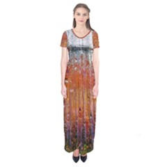 Glass Colorful Abstract Background Short Sleeve Maxi Dress