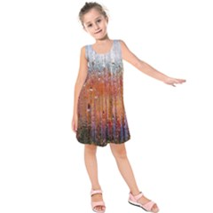 Glass Colorful Abstract Background Kids  Sleeveless Dress