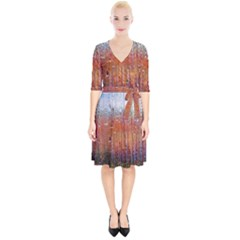 Glass Colorful Abstract Background Wrap Up Cocktail Dress