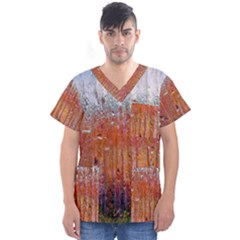 Glass Colorful Abstract Background Men s V Neck Scrub Top