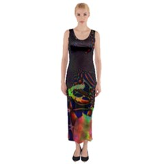 The Fourth Dimension Fractal Fitted Maxi Dress