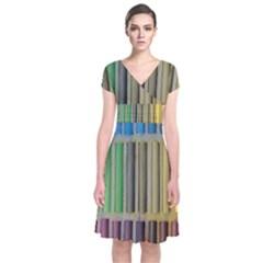 Pastels Cretaceous About Color Short Sleeve Front Wrap Dress