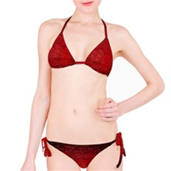Red Grunge Texture Black Gradient Bikini Set