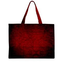 Red Grunge Texture Black Gradient Zipper Mini Tote Bag