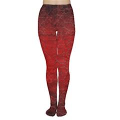 Red Grunge Texture Black Gradient Women s Tights
