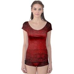 Red Grunge Texture Black Gradient Boyleg Leotard
