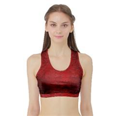 Red Grunge Texture Black Gradient Sports Bra With Border