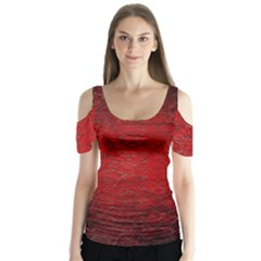 Red Grunge Texture Black Gradient Butterfly Sleeve Cutout Tee