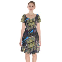Rectangular Short Sleeve Bardot Dress