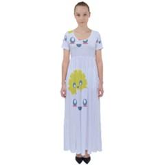 Cloud Cloudlet Sun Sky Milota High Waist Short Sleeve Maxi Dress
