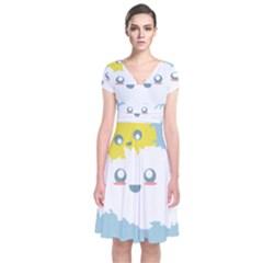 Cloud Cloudlet Sun Sky Milota Short Sleeve Front Wrap Dress