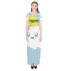 Cloud Cloudlet Sun Sky Milota Short Sleeve Maxi Dress