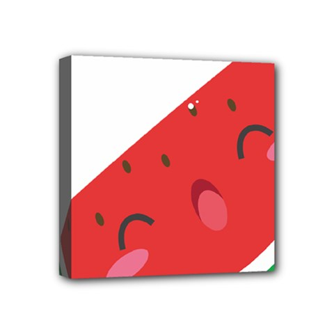 Watermelon Red Network Fruit Juicy Mini Canvas 4  X 4