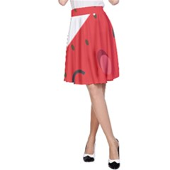 Watermelon Red Network Fruit Juicy A Line Skirt