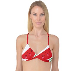 Watermelon Red Network Fruit Juicy Reversible Tri Bikini Top