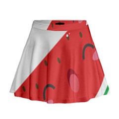 Watermelon Red Network Fruit Juicy Mini Flare Skirt