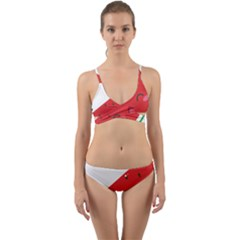 Watermelon Red Network Fruit Juicy Wrap Around Bikini Set