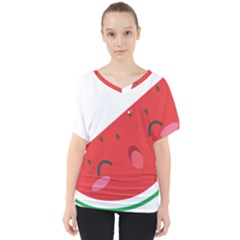Watermelon Red Network Fruit Juicy V Neck Dolman Drape Top