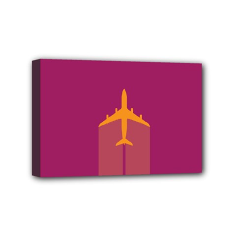 Airplane Jet Yellow Flying Wings Mini Canvas 6  X 4