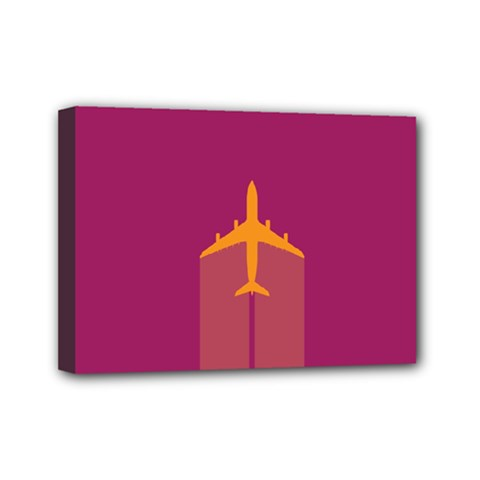 Airplane Jet Yellow Flying Wings Mini Canvas 7  X 5
