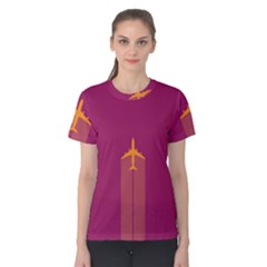 Airplane Jet Yellow Flying Wings Women s Cotton Tee