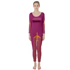 Airplane Jet Yellow Flying Wings Long Sleeve Catsuit
