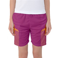 Airplane Jet Yellow Flying Wings Women s Basketball Shorts