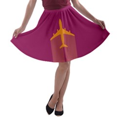 Airplane Jet Yellow Flying Wings A Line Skater Skirt