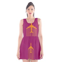 Airplane Jet Yellow Flying Wings Scoop Neck Skater Dress