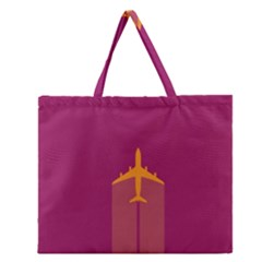 Airplane Jet Yellow Flying Wings Zipper Large Tote Bag
