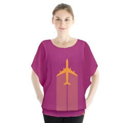 Airplane Jet Yellow Flying Wings Blouse
