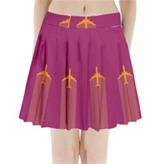Airplane Jet Yellow Flying Wings Pleated Mini Skirt