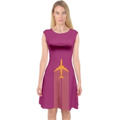 Airplane Jet Yellow Flying Wings Capsleeve Midi Dress