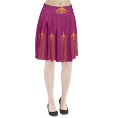 Airplane Jet Yellow Flying Wings Pleated Skirt